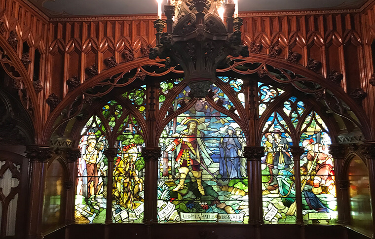 Stained glass artwork depicting LaSalle